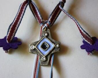 Unique adjustable elbow length purple necklace
