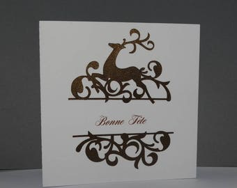 Christmas Fawn and Brown arabesque glossy card