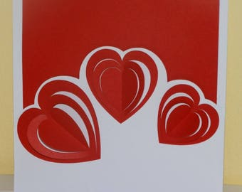 Card 3 heart Valentine's day 3D