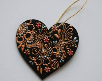 Henna Inspired Wooden Hanging Heart