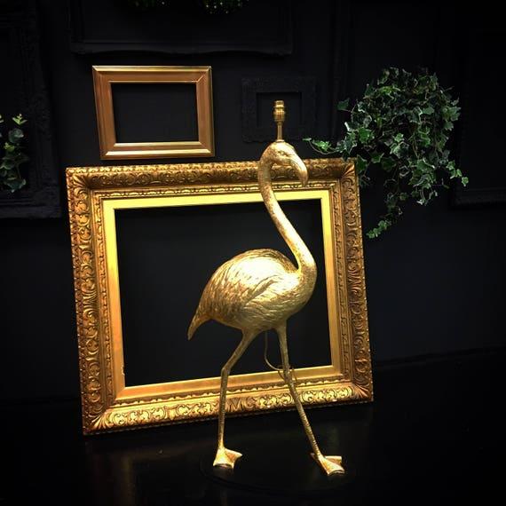 Upcycled Gold leaf flamingo floor lamp