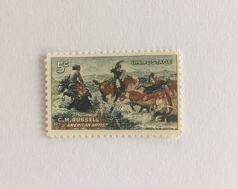 10 Vintage 5c US postage stamps - C M Russell American Artist 1964 - cowboys southwest country neutral brown rustic- unused