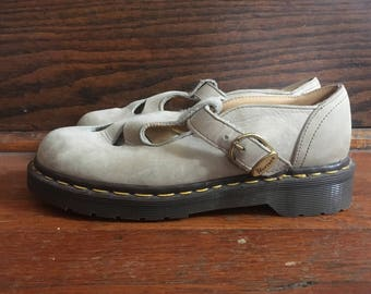 Vintage Womens DOC MARTENS Light Brown Leather Mary Janes SHOES Size 6.5 7 Sandals