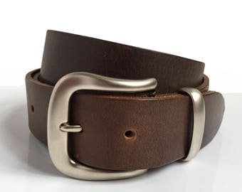 "Mens Brown Leather Belt - 1"" 1/2 - Matt Silver Curvy Buckle - Brown Belt - Leather Belt - Traditional Belt - Father Gift - Veg Tan Leather"