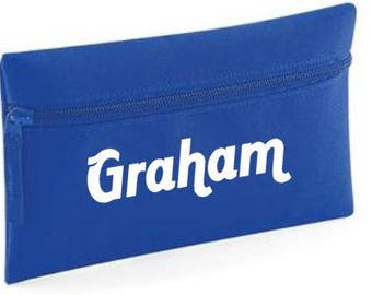Personalised kids blue pencil case your name back to school