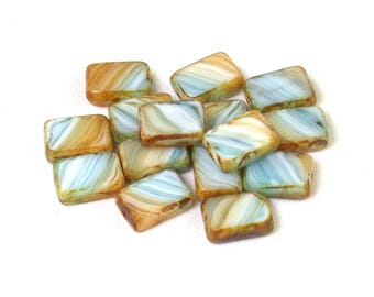Aqua Tan streaked White opaque w/ picasso 12 x 8 x 4mm rectangle. Set of 8 or 15.