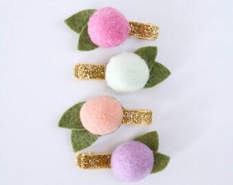 Rainbow Sherbet Felt Ball Flower Clip Set // Metallic Gold Glitter Clips // Modern Hair Clip // Set of 4
