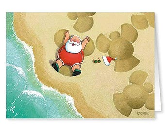 Sand Angels Christmas Cards - Beach 18 Cards and Envelopes - 30008