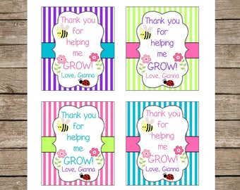Thank You For Helping Me Grow ~ Personalized Teacher Appreciation Flowers Plant Gift Tag Label Sticker ~ Printable ~ Teacher Gift Tags