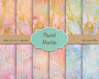 Marble Digital Paper, Pastel Marble, gold foil marble digital paper, gold and silver, marble scrapbook paper, marble backgrounds, ink marble