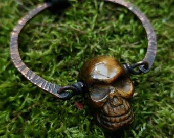 Tiger's Eye Skull Pendant // Gemstone Skull Copper Circle Pendant // Hammered Copper Tiger Eye Skull Unisex Necklace