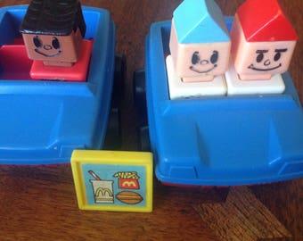 "70's Playskool McDonalds Playset includes 3 ""Blockhead"" people, 2 vehicles, and 1 McDonald food tray."