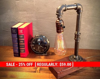 SALE Unique Light - Table lamp - Steampunk Light - Industrial Lighting - Vintage Lamp - Edison Lamp - Rustic Lighting - Reading Desk lamp