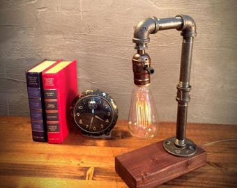 30% OFF SALE Unique Light - Table lamp - Steampunk Light - Industrial Lighting - Vintage Lamp - Edison Lamp - Rustic Lighting - Reading Desk