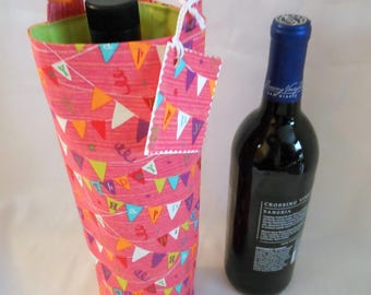 Happy Birthday gift bags, fabric wine tote, beverage carrier, liquor bottle cozy, gifts for him or her, matching gift tag, fully lined