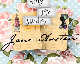 Jane AUSTEN Printable Journal Cards  Regency Era  Digital Cards   Pride and Prejudice  library card  junk journal vintage  book lovers