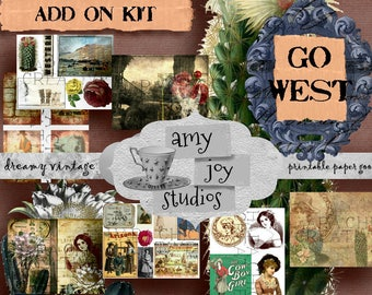 GO WEST Add On Kit  Digital Junk Journal  Ephemera Pack  Printable Junk Journal  Digital Journal Kit  Old West  Wild West  DIY Journal