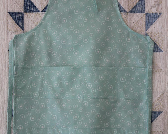 Child's Apron Pale Blue with White Stars Kids Apron with Roomy Pocket. Fits Ages 3-8 Chef in Training Kid's Valentine gift Super Star Apron