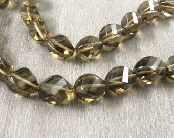 Full Strand Light Golden Brown Smoky Quartz Faceted Swirl Beads