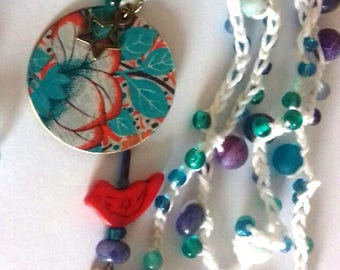 long red metal bird pendant bronze necklace, gemstones