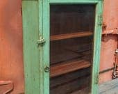 Vintage Indian Green Wooden Kitchen Cabinet from Rajasthan India
