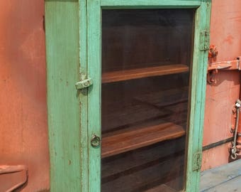 Vintage Indian Green Wooden Kitchen Cabinet, from Rajasthan, India