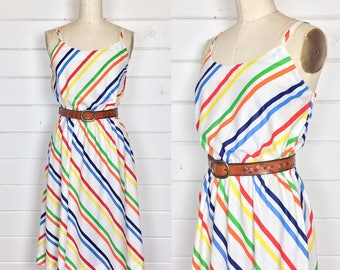 Vintage 1970s Rainbow Striped Sundress / Made by Jones / Full Skirt / Primary Colors