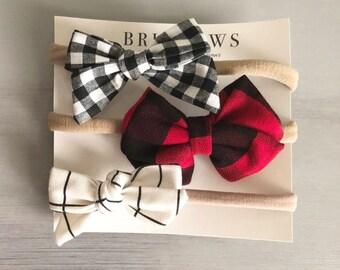 Baby headwrap, baby headband, baby hairbow, hairbow, elastic hairbow, grid hairbow, nylon headband, baby headband set