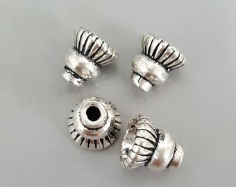 Vintage Jewelry Findings Thai Sterling Silver Bead Cones, Apetalous, 7x7mm; Hole: 1mm and 4mm - Select 2, 4 or 10 Pieces