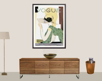 Vogue Cover May, 1928 Vintage Fashion Poster - Poster Print, Sticker or Canvas Print