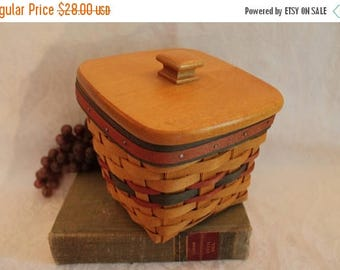 Summer Sun Sale Vintage Longaberger Father's Day Striped Basket - Finders Keepers with Plastic Liner and Wood Lid