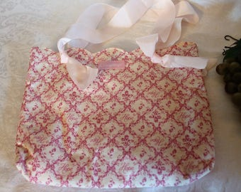 Longaberger Pink and White Ribbon Tote Purse - American Cancer Society Horizon of Hope Breast Cancer Awareness