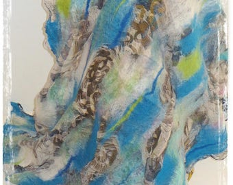 Turquoise felted wool spring scarf on chiffon silk