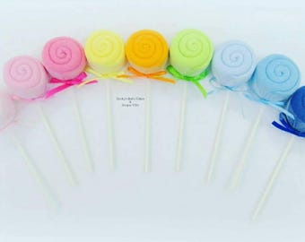 12 CT. Baby Washcloth Lollipop, Baby Washcloth, Baby Shower Decoration, Baby Boy Gift, Boy or Girl Baby Shower Decoration, Baby Washcloth
