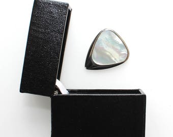 Inlay Tones Mini - Titanium Guitar Pick with White Mother of Pearl Inlay