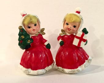 Vintage Christmas Girl with Gift, Girl with Christmas Tree, Blonde  Spun Cotton Hair, Ceramic Porcelain, 4 inches tall,Hand Painted,  Japan