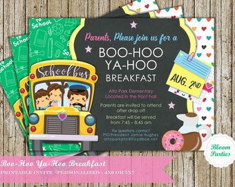 Boo Hoo Ya Hoo Woo Hoo Breakfast Invitation Digital Printable Custom DIY Invite PTA or PTO BooHoo YaHoo WaHoo Breakfast First Day of School