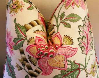 Pink Green Floral Pillow Cover Jacobean Print Linen Cotton Knife Edge or Welt 18x18 20x20 22x22 13x20 Lumbar