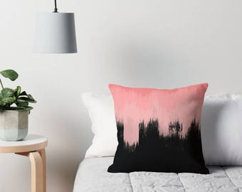 Black and coral throw pillow cover - abstract cushion cover