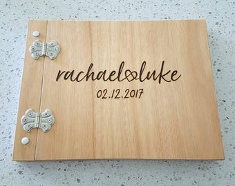 Personalised Hand made Wooden Guestbook - Wedding guest book