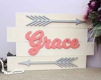 Nursery Name Sign, Boho Nursery Arrow Wall Decor, Pallet Signs, Arrow  Nursery,