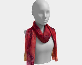Reds Klimt Style/Red Elegant Scarf Neck scarf Chemo Turban Floral dance Hair Accessories Chemo Headwrap, Women's Clothing, Long Scarf, Art