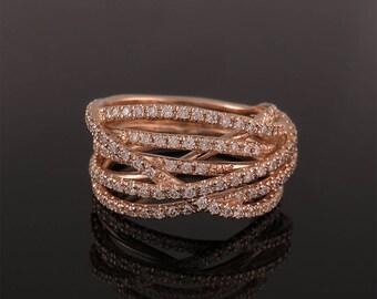 Engagement ring, Rose gold engagement ring, Diamond engagement ring, Unique engagement ring, Fine jewelry, Fine engagement ring