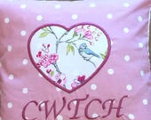 Cwtch Heart Cushion Cover Only  Pink Dotty Bird Trail. 14 Handmade Personalised Cushion Hand Made CushionHandmade Decorative Pillow