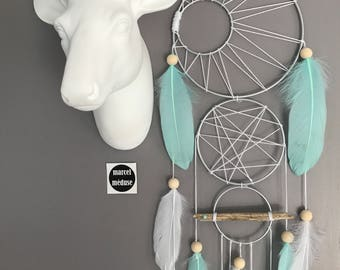 Dream catcher 3 weavings in mint and white