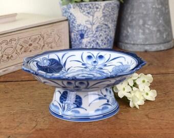 Small pedestal serving dish or platter. vintage blue and white ceramic.