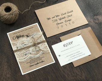 Burlap Wedding Invitation Set, Rustic Wedding Invitation, Lace Wedding Invitation, Country Wedding Invitation, Chic Wedding Invitation