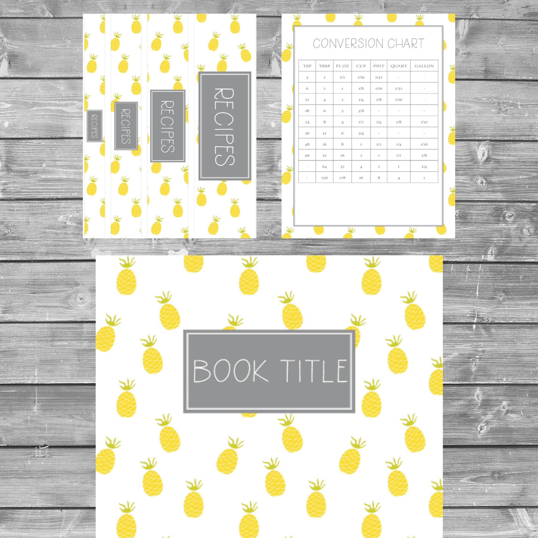 Pineapple Recipe Binder Kit Printable Recipe Binder