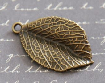 Large textured leaf charm bronze 32x21mm