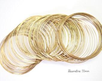 10 turns of memory wire bracelet 60mm bronze metal form